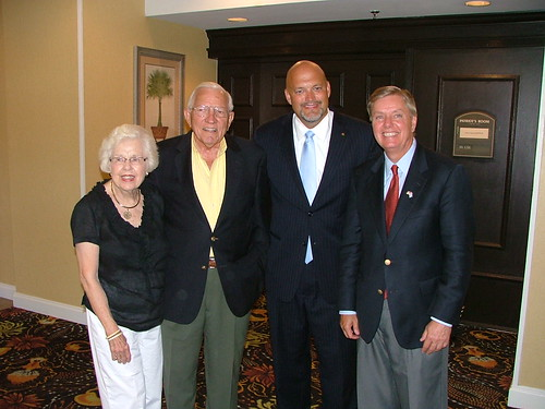Sen. Graham with Gov. and Mrs. Jim Edwards and Mark Smith at the East Cooper Republican Club meeting. | by LindseyGraham.com