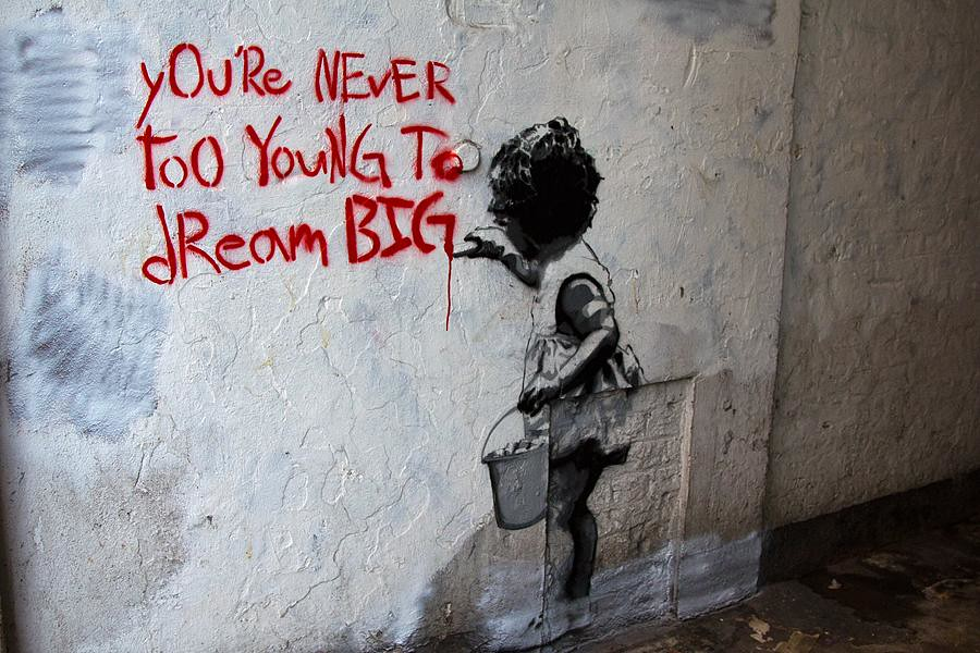 you 39 re never too young to dream big by mr brainwash thie flickr. Black Bedroom Furniture Sets. Home Design Ideas