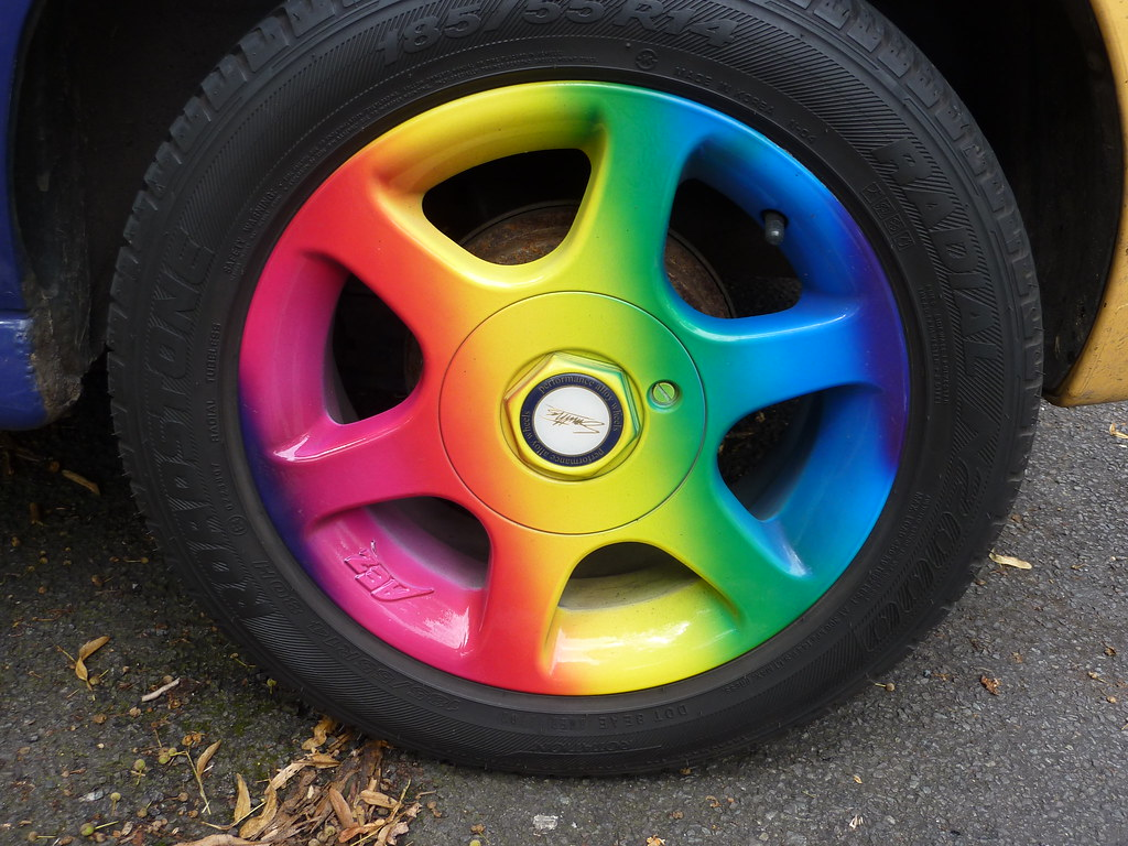 Rainbow Car Tyre Hubcap A Brightly Coloured Car Hubcap I