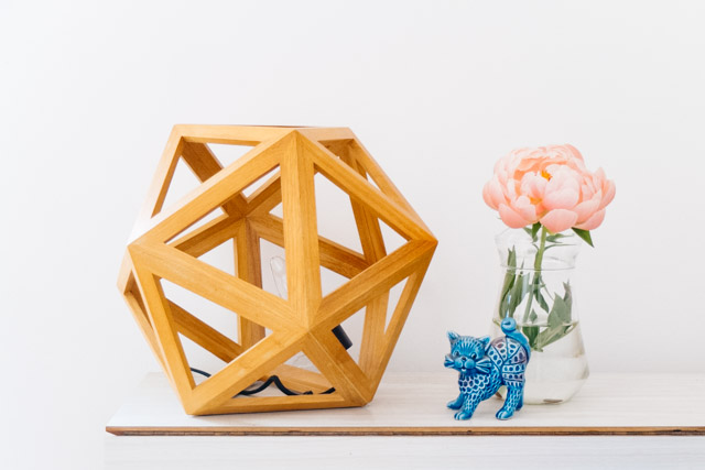 wooden geometric lamp