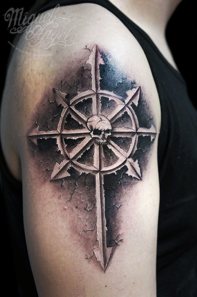 Chaos symbol and skull custom tattoo | Miguel Angel Custom ...