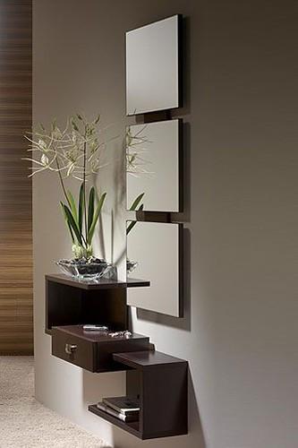 Mueble de entrada de dise o moderno formado por espejo y - Muebles de recibidor modernos ...