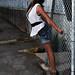 Veronica near greenhouse fan