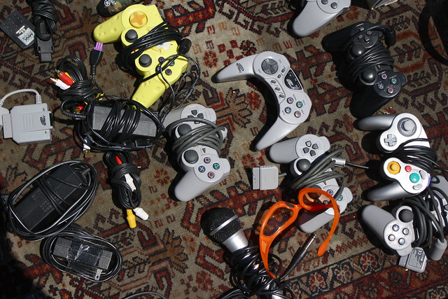 Videogame controllers accessories on rug flickr Controller rug