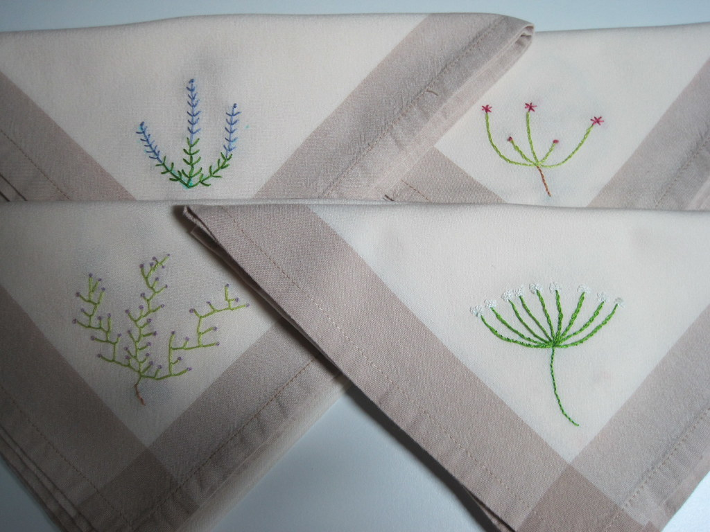 Embroidered napkins i bought these at a flea