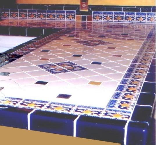 Mexican Talavera Tile Countertop Private Home Oklahoma