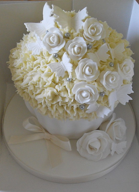 White And Silver Wedding Giant Cupcake