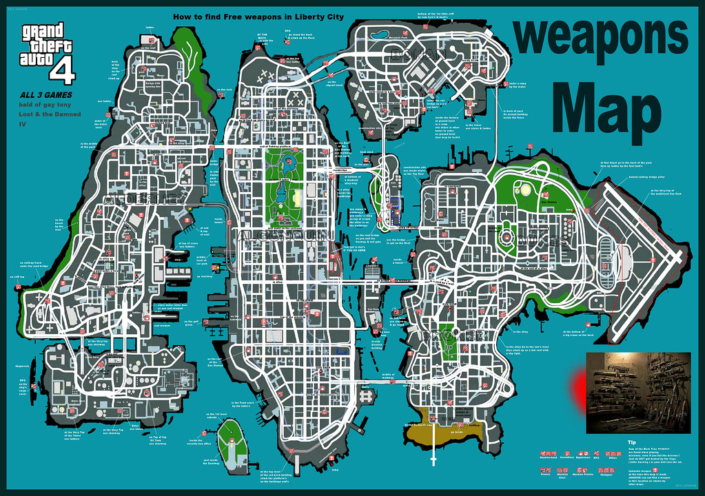 big GTA-IV & EFLC GUNS map | Grand Theft Auto IV Weapons Map… | Flickr Gta Iv Weapon Map