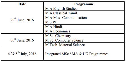 CU TamilNadu Counselling Schedule