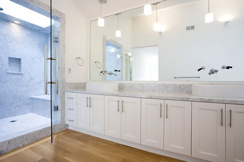 Modern white bathroom by pacifica tile and granite pacifi