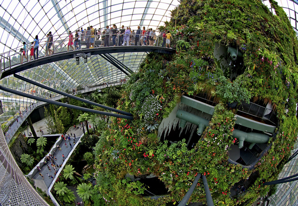 cloud forest dome at gardens by the bay singapore the