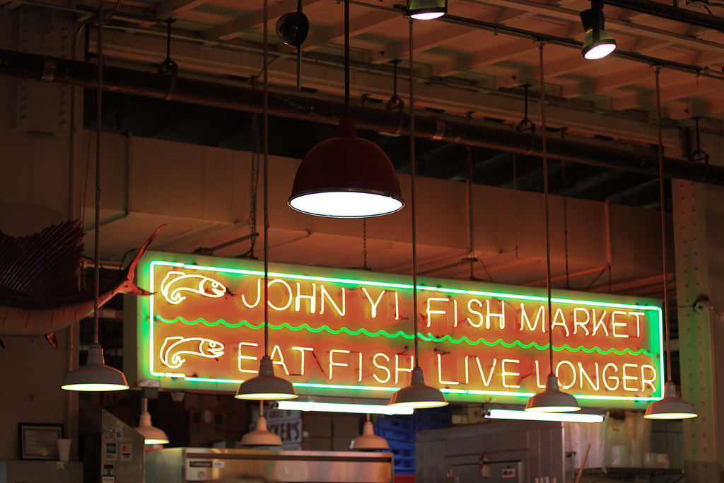 Fish market sign reading terminal market philadelphia for Fish market philadelphia