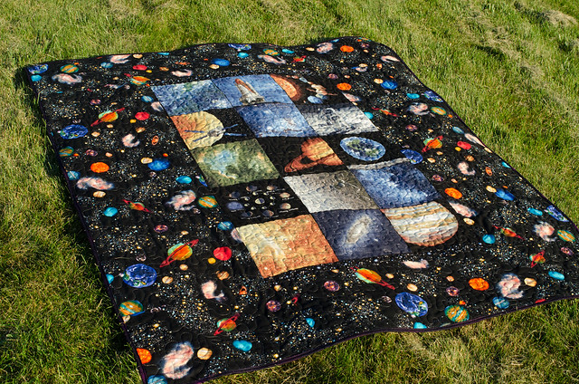 Space quilt back flickr photo sharing for Spaceship quilt