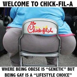 Welcome to Chik-fil-a, where obesity is genetic but being gay is a choice... #lgbt | by jacob_giovanni
