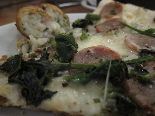 Pizza with sweet sausage, broccoli rabe, roasted garlic & mozzarella | by SazeracLA