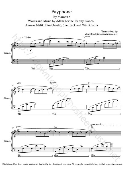 payphone piano sheet music pdf easy