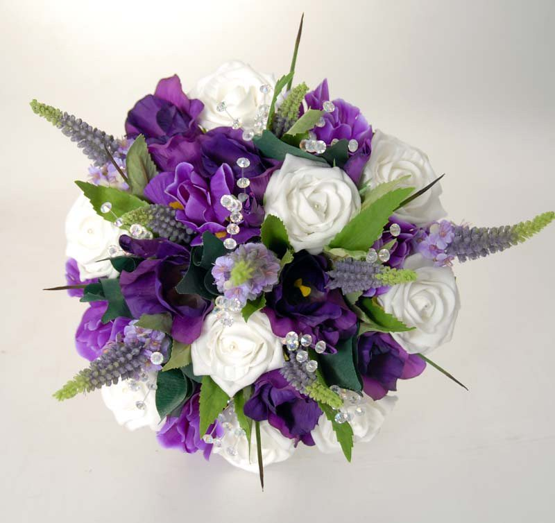 Purple Flower Wedding: Brides Bouquet In White Pearl Roses And Purple Flowers