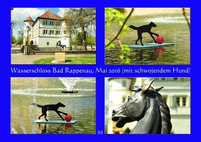 Im August / September 2015 war ich in Bad Rappenau zur Reha und habe dieses hübsche Städtchen irgendwie in mein Herz geschlossen, so dass ich immer wieder gerne hierher zurückkomme. Jetzt, Anfang Mai 2016, sieht vieles so ganz anders aus als im Hoch- und Spätsommer. Einiges habe ich gleich wiedererkannt, manches war ganz anders - und ein paar neue Entdeckungen konnte ich auch machen (beim Wasserschloss gibt es jetzt einen schwojenden Hund). Interessant und spannend ist zum Beispiel die Bepflanzung des Feuerbeetes in den wechselnden Jahreszeiten, ja überhaupt die Blumenpracht in Kur- und Salinenpark. Neu ist der Lehrpfad mit heimischen Sträuchern, die im Moment allerdings noch sehr klein sind ... da darf man sich schon auf den nächsten Besuch freuen. Ein schöner, sonniger Maitag mit vielen Erinnerungen und Eindrücken. Fotos: Brigitte Stolle
