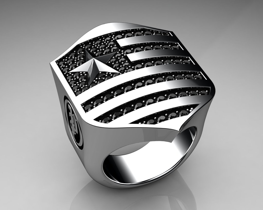 Unique Mens Ring Patriot Shield Ring Sterling Silver With