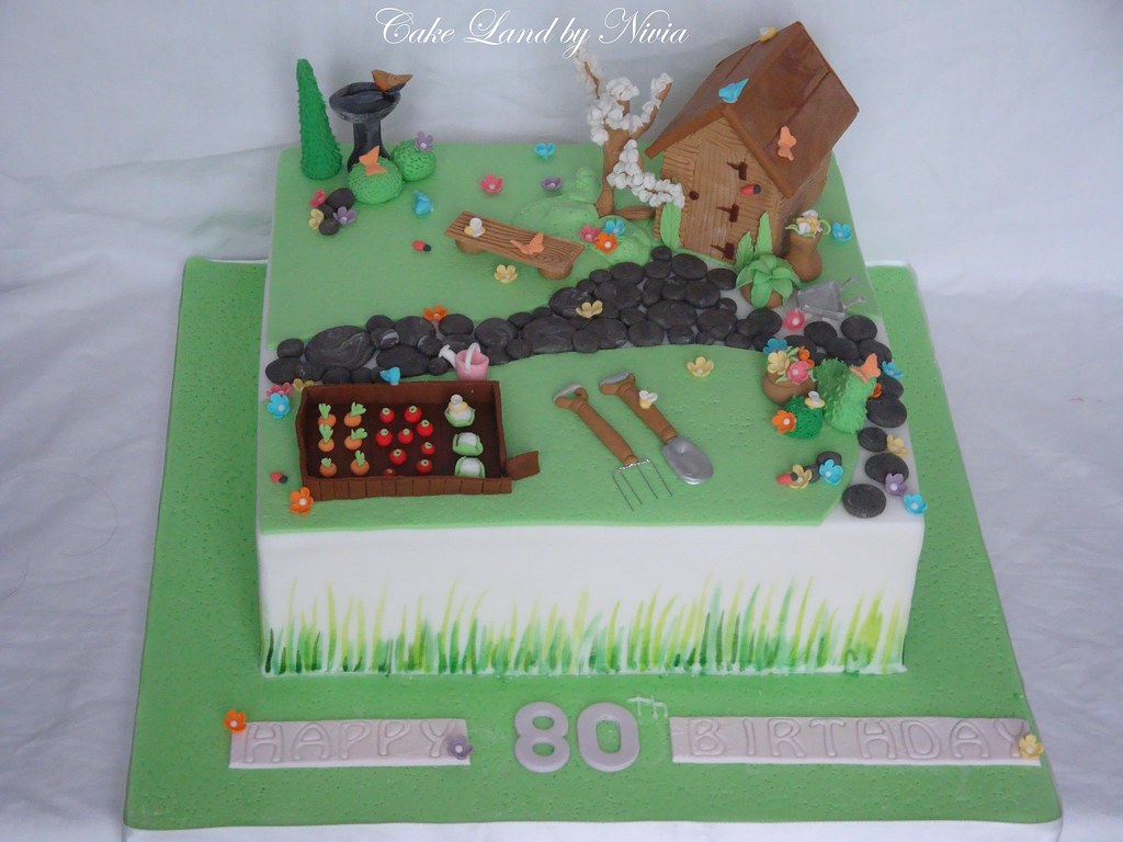 80th birthday cake garden cake for Gardening 80th birthday cake