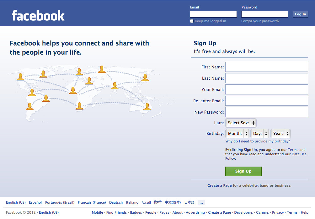 Facebook Welcome Log In Sign Up