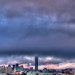 Fog Rolls in over Pink Clouds at Sunset, HDR Panorama