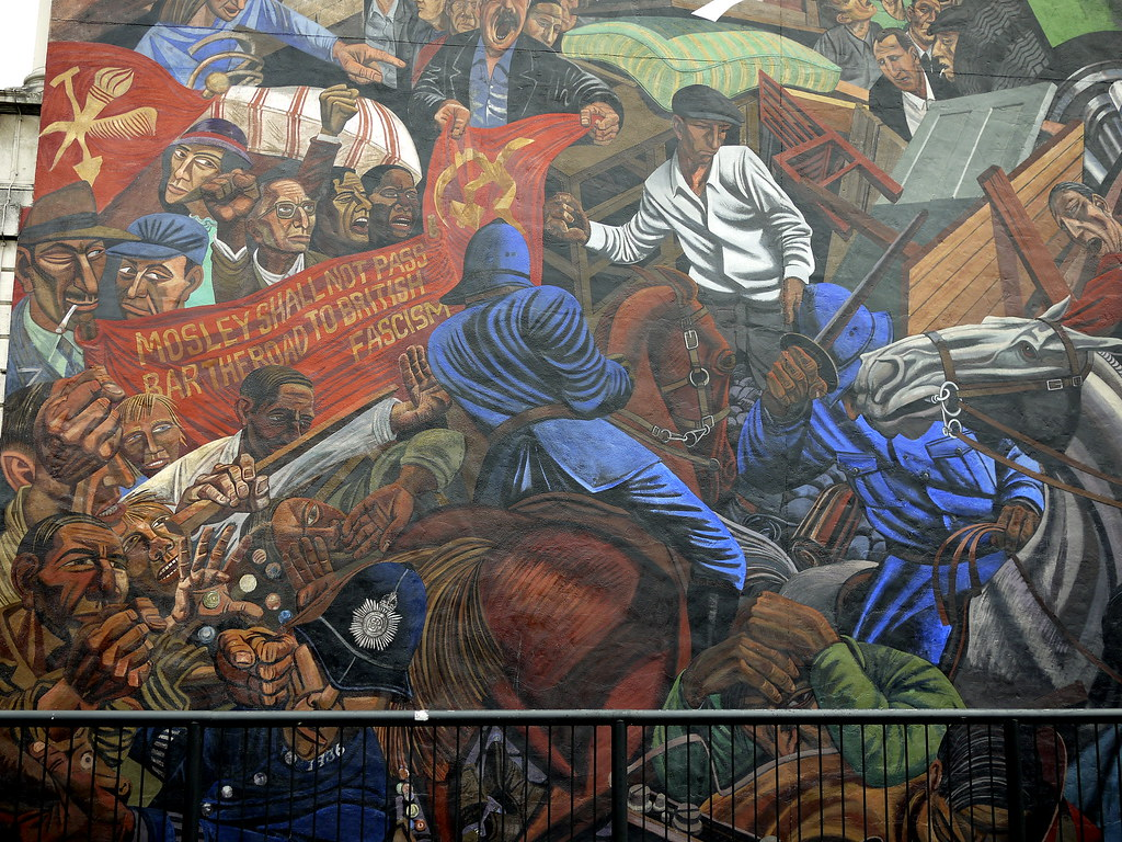 Cable street mural depicting the battle of cable street for Battle of cable street mural