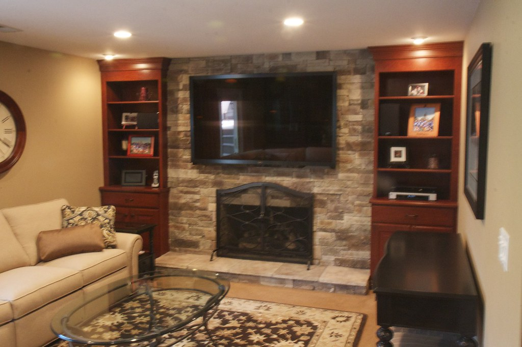 Stone Fireplace With Tv Mountain Stack Style Stone