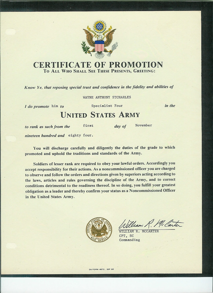 Wayne st charles army trip to berlin and east berlin for Promotion certificate template