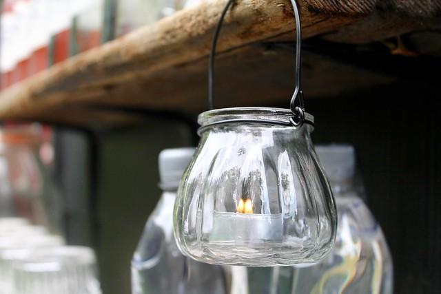 Tea lights in clear glass add a little magic