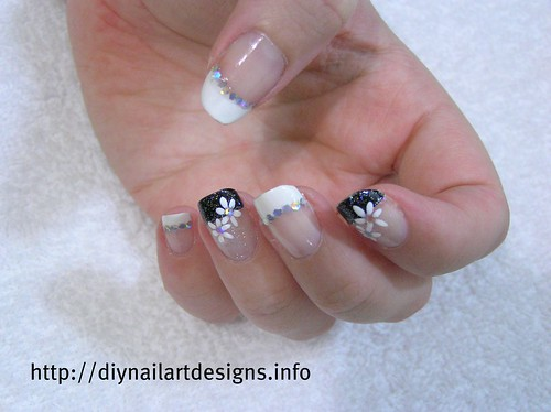 DIY Nail Art Designs: Black and White French Manicure with Hand painted Flowers and Glitter | by DIYNailArtDesigns