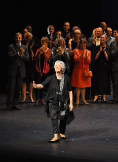 Monica Mason's curtain call and flower throw. © The Ballet Bag/ROH 2012 | by Royal Opera House Covent Garden
