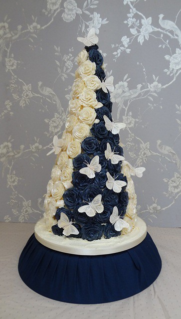 Navy Blue And Ivory Wedding Cakes