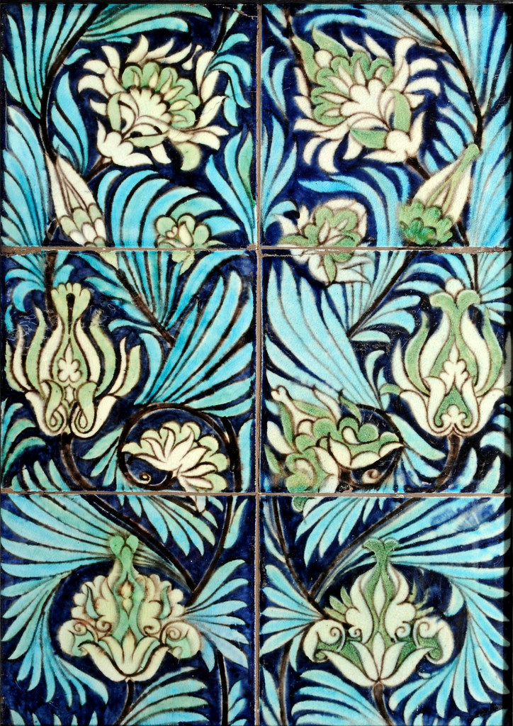 William De Morgan Tile Panel Six Inch Tiles Fulham