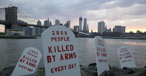 Fake tombstones along the East River, NYC | by Oxfam International