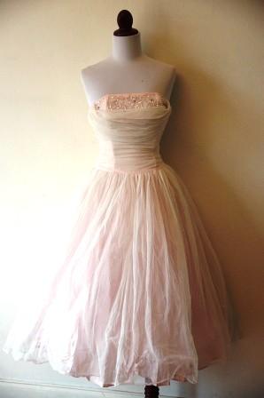 Vintage 1950s Pale Pink Chiffon Prom Dress | Retro Kitten Vintage ...