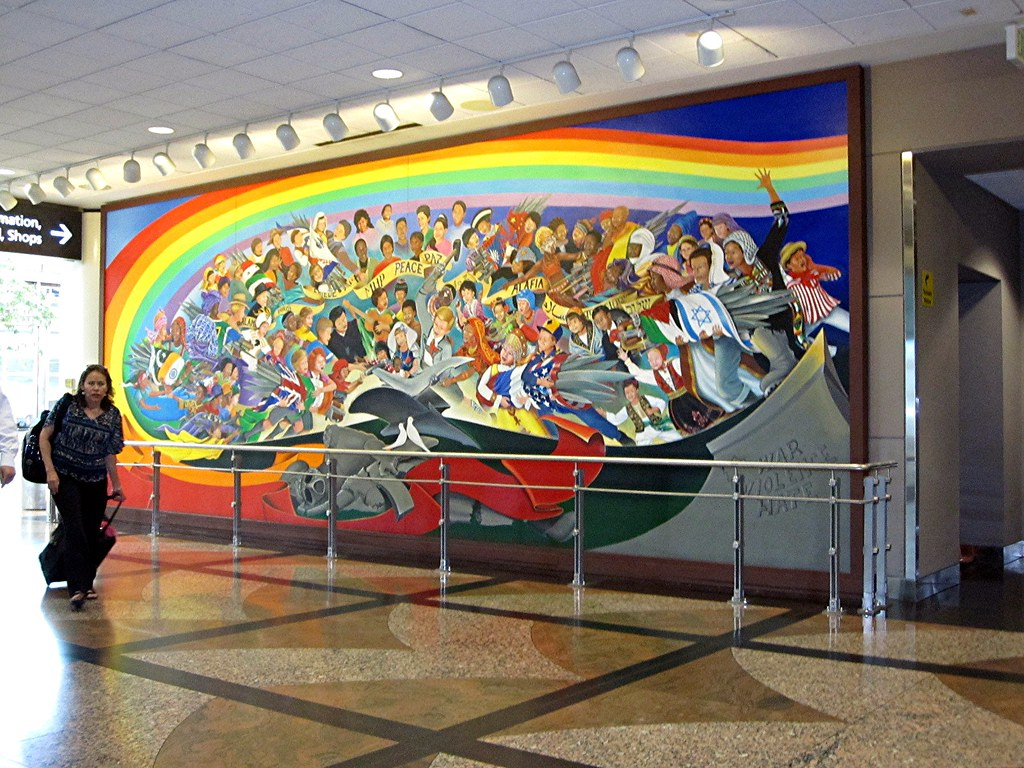 Denver airport murals children of the world for Denver mural airport