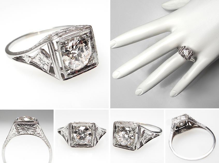 Vintage Diamond Solitaire Engagement Rings