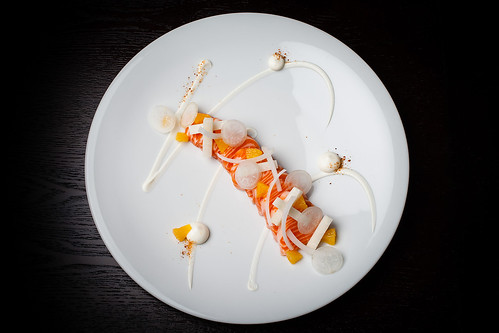 Mezcal-cured ocean trout with cream cheese, orange, and sal de gusanos 07 | by Gilt Taste Plates