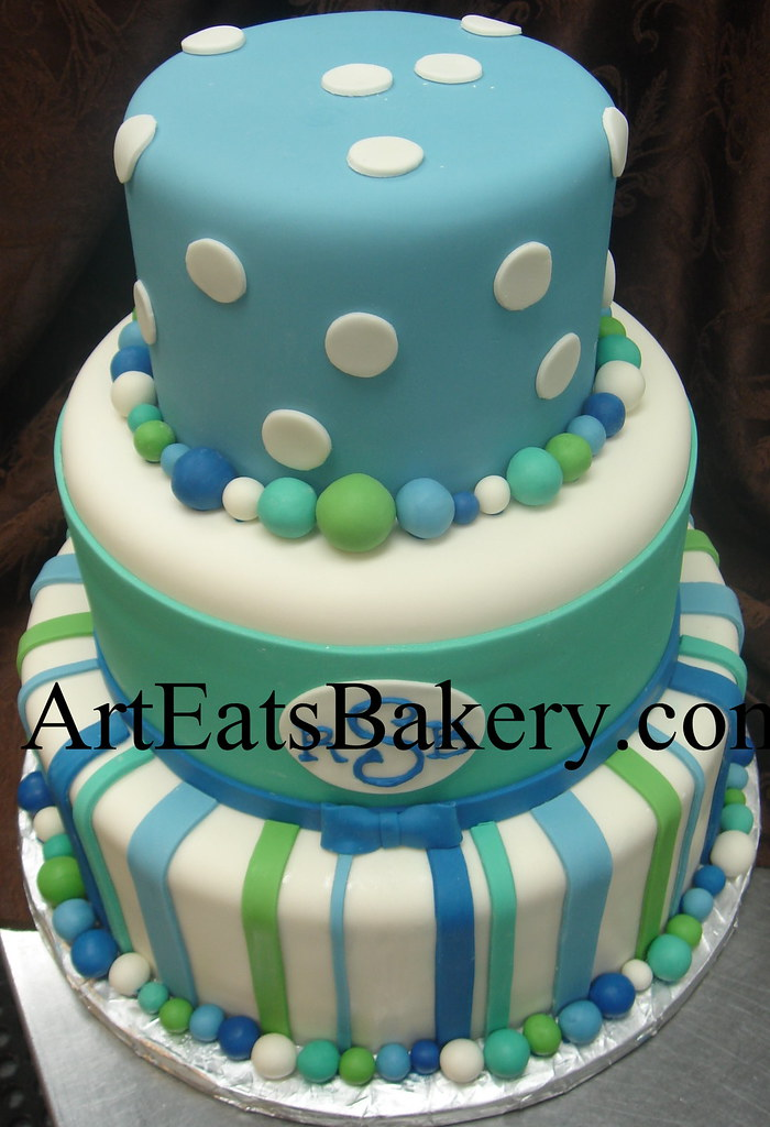 Three Tier Blue White And Green Polka Dot And Stripe Boys