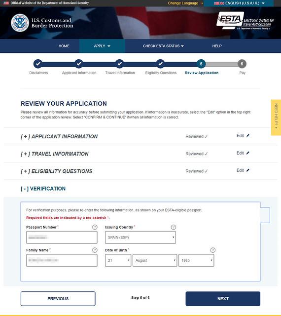 Confirmación de los datos introducidos durante el proceso de obtención del certificado ESTA para acceder a Estados Unidos