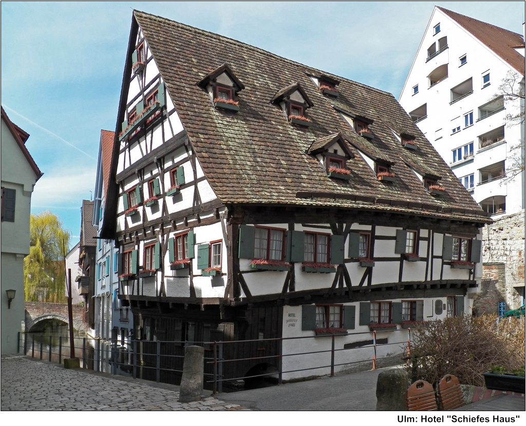 "Hotel ""Schiefes Haus"" Oldest house in Ulm Germany"