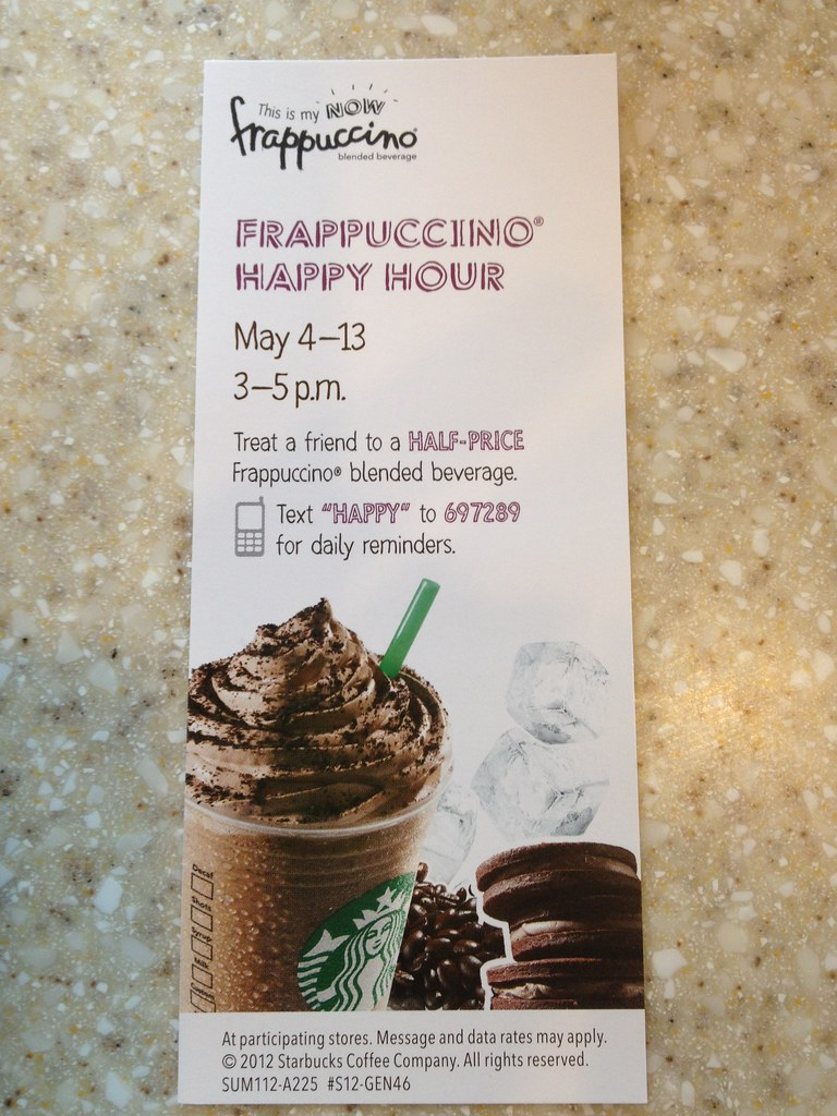 Starbucks flyer allows you to text in to receive daily ale ...