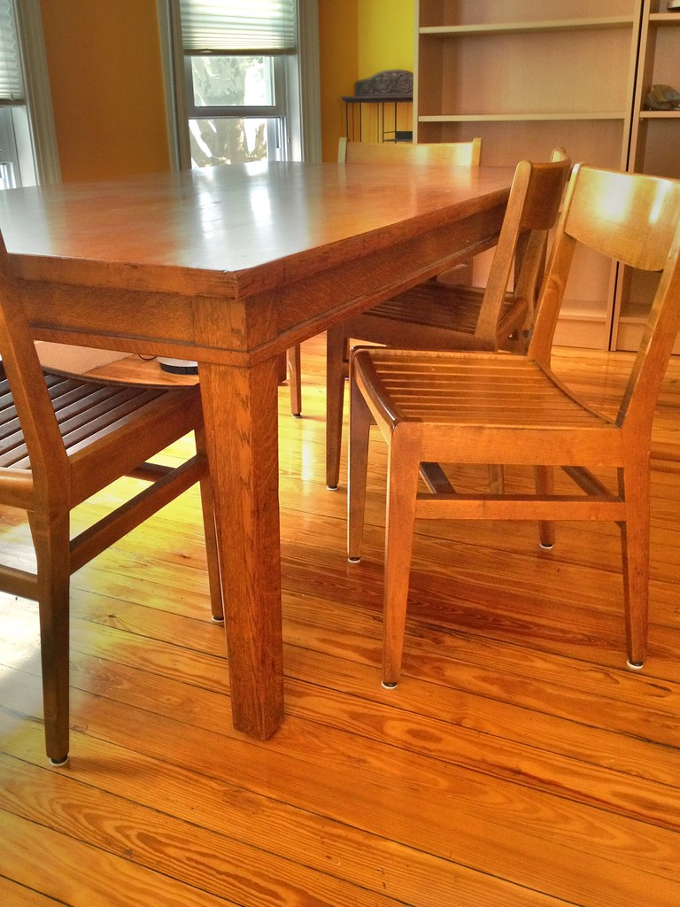 oak library table 6 chairs 400 sold flickr. Black Bedroom Furniture Sets. Home Design Ideas