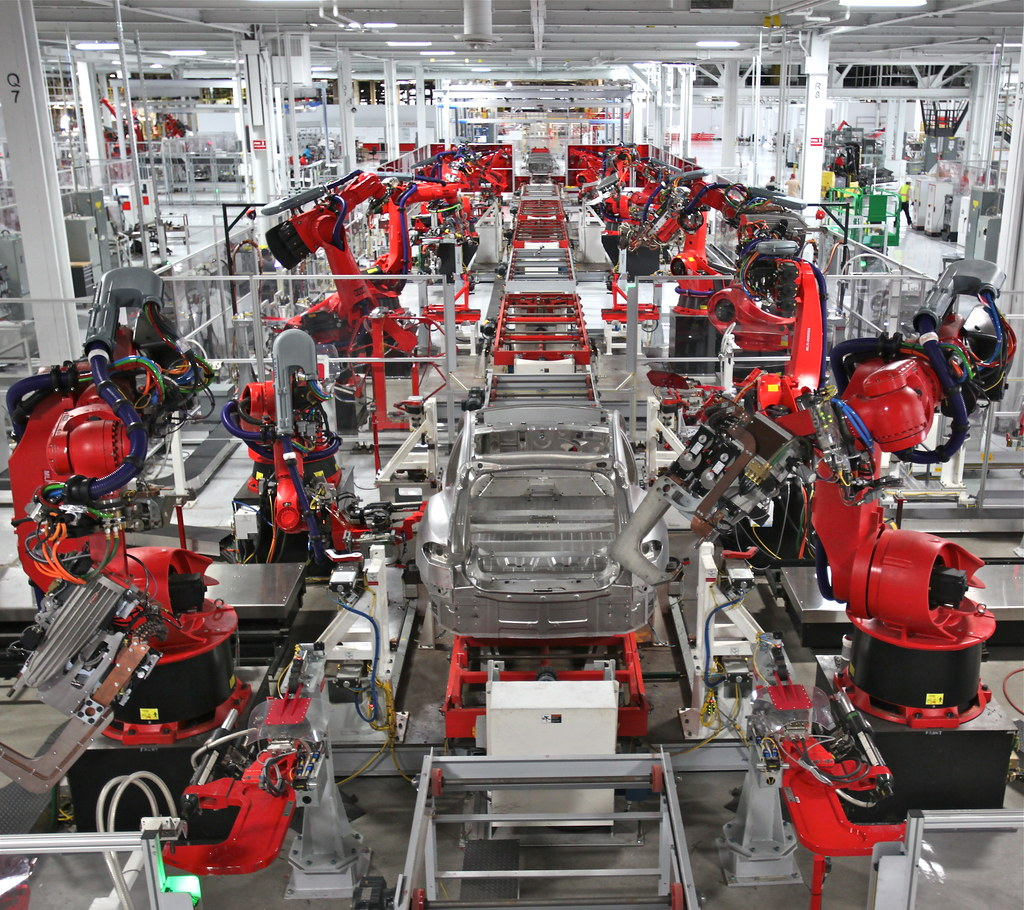 Tesla Robot Dance Assembling The Very First Model S