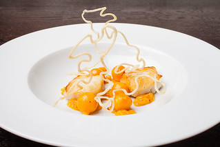 "Halibut with cape gooseberry, chipotle, and masa ""wire"" 03 