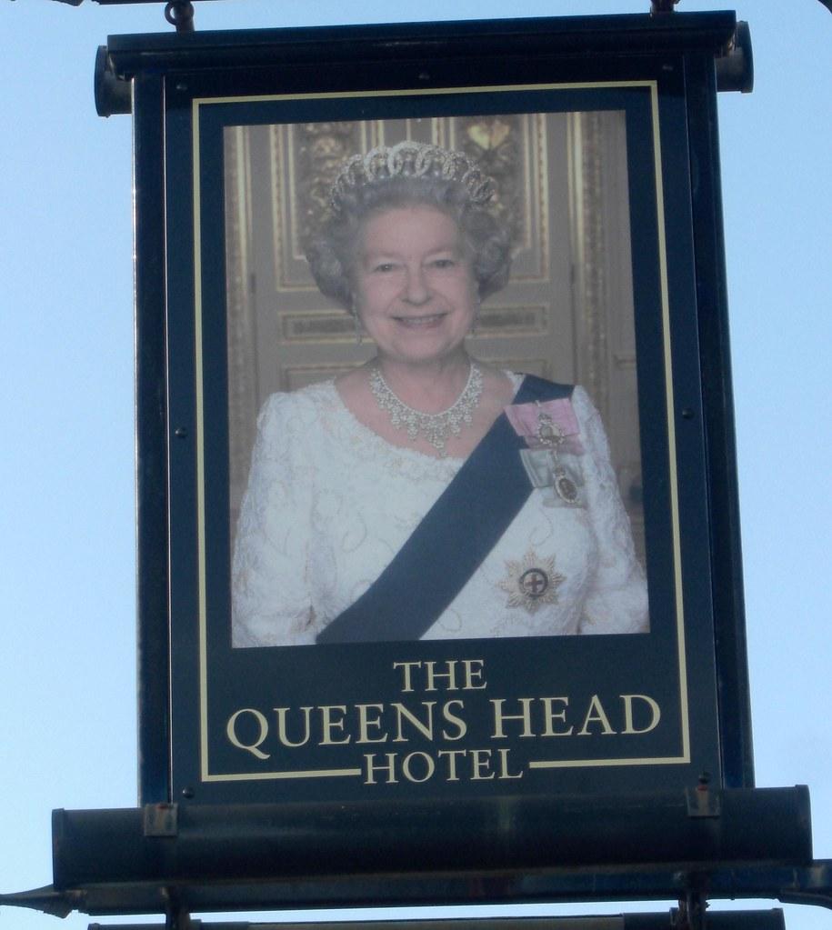 queens head polsloe bridge exeter fun pub sign from. Black Bedroom Furniture Sets. Home Design Ideas
