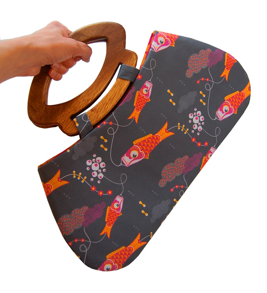 Japanese koi fish kites handbag with handmade wooden handl for Koi fish kite