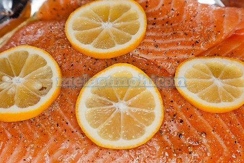 Salmon with orange slices | by melastmohican
