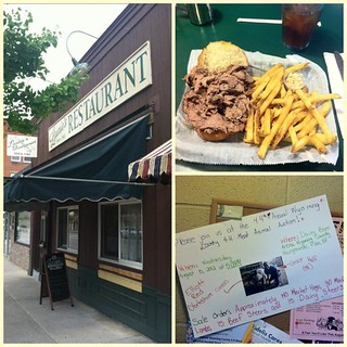 Lunch at Laurie's Restaurant in Warsaw, NY: beef on Weck sammich, 4-H auction ad. Collage via @frametastic | by tvancort